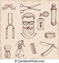 disegnato, elementi, barbiere, mano