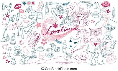 disegnato, elementi, cosmetico, collezione, mano
