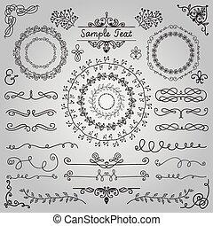 disegnato, elementi, disegno, mano