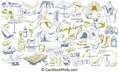 disegnato, elementi, set, campeggio, mano