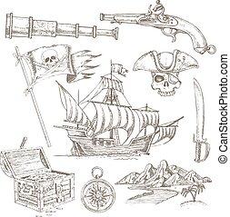 disegnato, elementi, set, pirata, mano