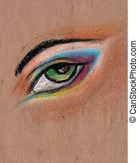 disegnato, eye., pastello, illustrazione, mano