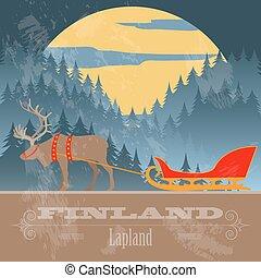 disegnato, finlandia, landmarks., retro