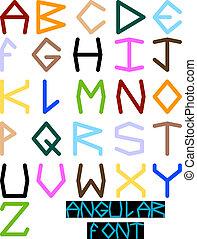 disegnato, font, angolare, mano