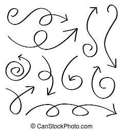 disegnato, frecce, mano