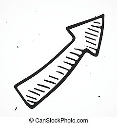 disegnato, freccia, mano