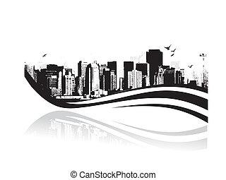 disegnato, grunge, urbano, -, grande, vettore, città, fondo., illustration.