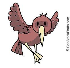 disegnato, immagine, uccello, cartone animato, mano