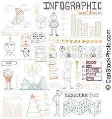 disegnato, infographic, elementi, mano