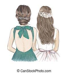 disegnato, lato, damigella d'onore, stile, invitation., sposa, illustrazione, matrimonio, lato, mano, vendemmia