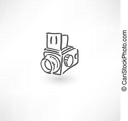 disegnato, macchina fotografica, vecchio, mano, icona