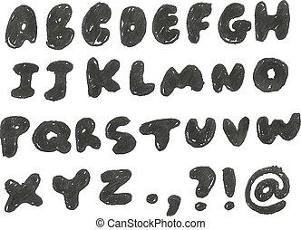 disegnato, mano, annerito, alfabeto