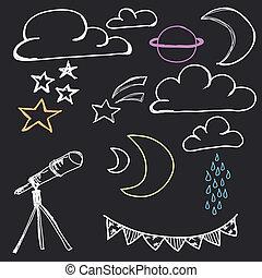 disegnato, mano, cielo, notte