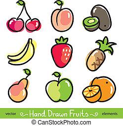 disegnato, mano, frutte