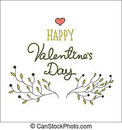 disegnato, mano, giorno, scheda, valentine