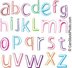 disegnato, mano, lettere, alfabeto