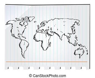 disegnato, mano, mappa mondo