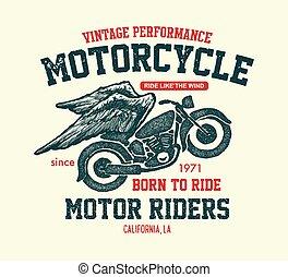 disegnato, mano, motocicletta, vendemmia