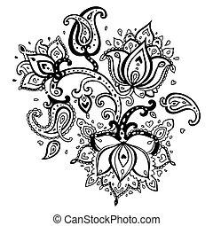disegnato, mano, paisley, ornament.