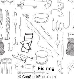 disegnato, mano, pesca, modello
