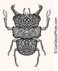 disegnato, mano, scarabeo