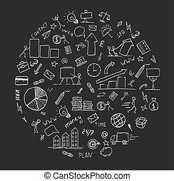 disegnato, mano, scarabocchiare, affari, elemento