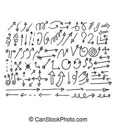 disegnato, mano, scarabocchiare, icona freccia