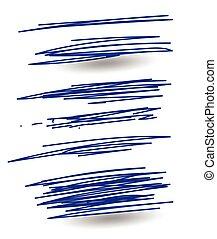 disegnato, mano, scarabocchio, colorito, smears
