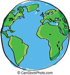 disegnato, mano, Terra