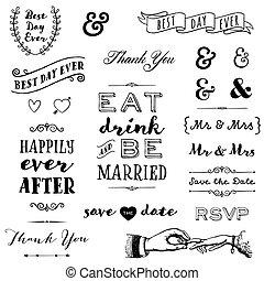 disegnato, mano, tipografia, matrimonio