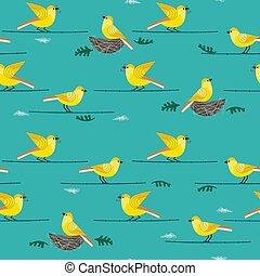 disegnato, mano, uccelli, seamless, modello