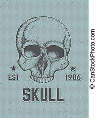 disegnato, mano umana, skull.