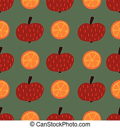 disegnato, mele, uso, appartamento, tessuto, illustrazione, seamless, imballaggio, frutta, fondo., mano, casa, scandinavo, style., vettore, arance, bambini, decorazione, pattern.