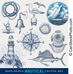 disegnato, nautico, vettore, set, mano