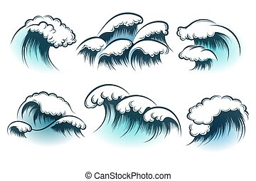 disegnato, oceano, set, mano, onda