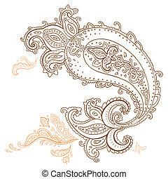 disegnato, paisley, ornament., mano
