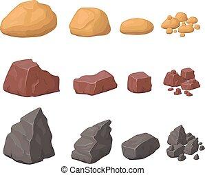 disegnato, pietre, vario, set, pietre, cartone animato, pietre, minerali