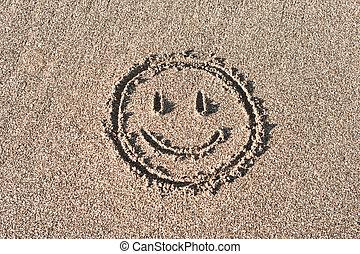 disegnato, sabbia, smiley, bach, faccia
