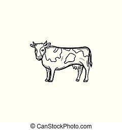 disegnato, schizzo, icon., mucca, mano