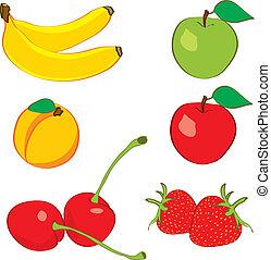 disegnato, schizzo, mano, colorito, frutte