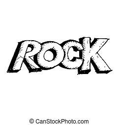 disegnato, schizzo, mano, lettera, roccia