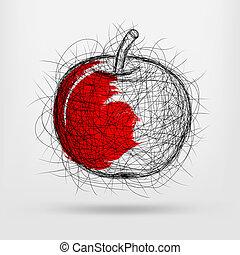 disegnato, schizzo, mela, mano