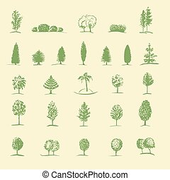 disegnato, schizzo, set, albero, mano
