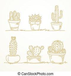 disegnato, schizzo, vaso, cactus, mano