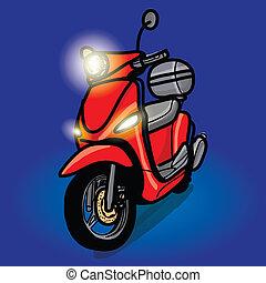 disegnato, scooter, -, mano
