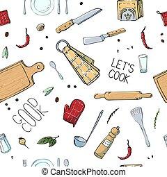 disegnato, seamless, disegno, scarabocchiare, originale, modello, mano, attuale, stile, design., utensils., cucina