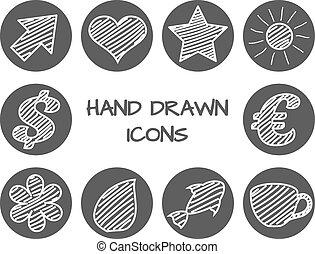 disegnato, set, mano, icone