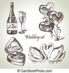 disegnato, set., matrimonio, illustrazione, mano