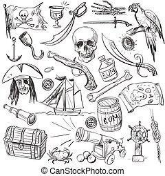 disegnato, set., pirati, mano