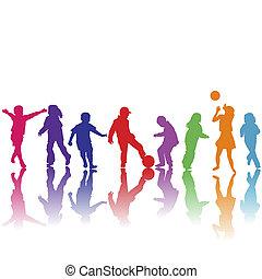 disegnato, silhouette, mano, gioco, bambini